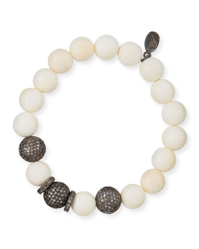 10mm Bone & Pave Diamond Beaded Bracelet