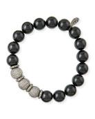 10mm Onyx & Pave Diamond Bracelet