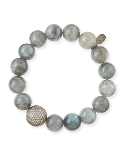 12mm Labradorite & Pave Diamond Bead Bracelet