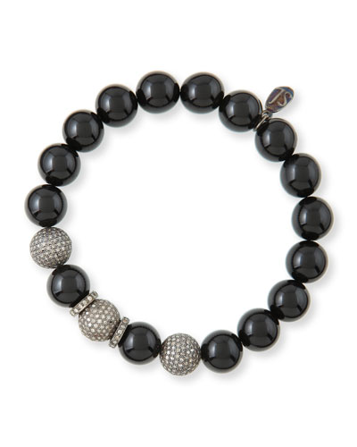 10mm Onyx & Pave Diamond Bracelet