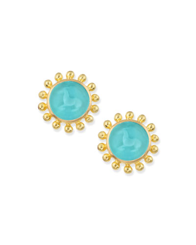 Teal Tiny Horse Intaglio Stud Earrings