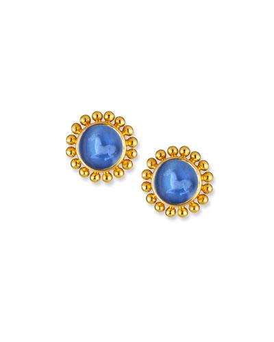 Cerulean Tiny Horse Intaglio Stud Earrings