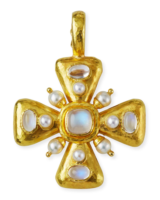 Moonstone & Pearl Maltese Cross Pendant