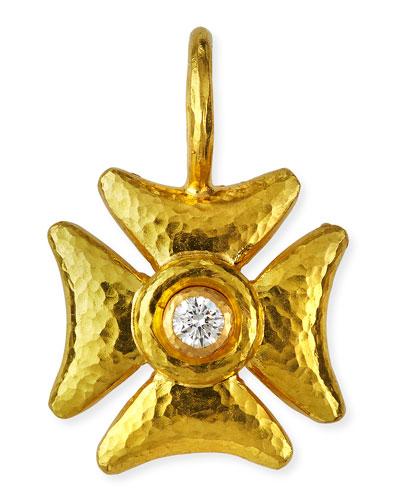 Small Diamond Maltese Cross Pendant