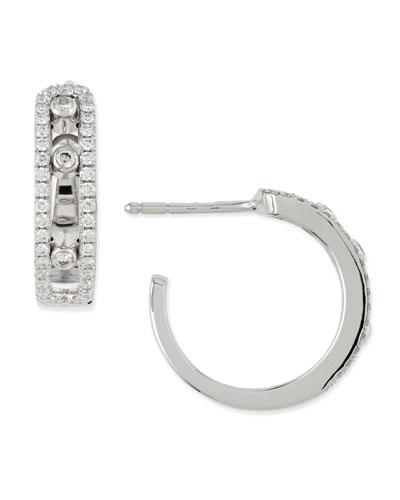 Sliding Diamond Hoop Earrings