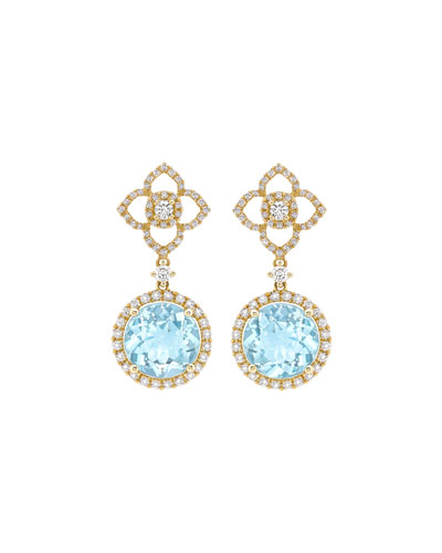 Aurora Blue Topaz & Diamond Drop Earrings