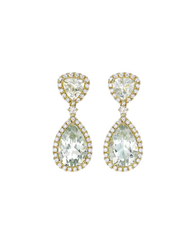 Signature Green Amethyst & Diamond Drop Earrings