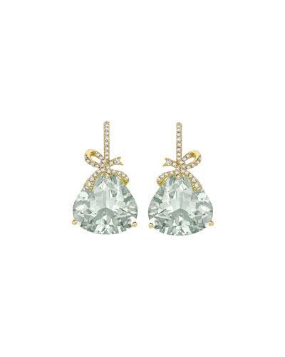 Flowers & Bows Green Amethyst Drop Earrings