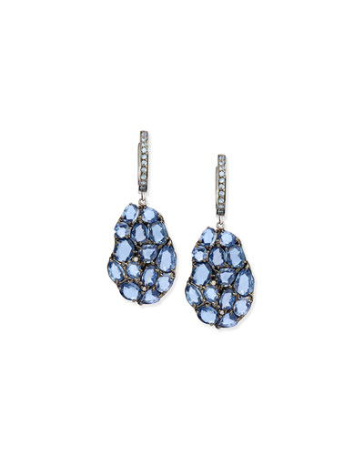 Wavy Sapphire Drop Earrings