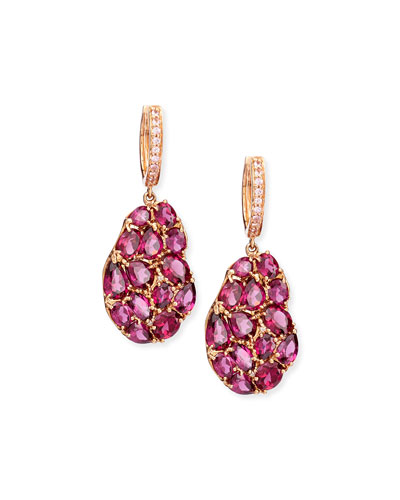 Wavy Rhodolite Drop Earrings