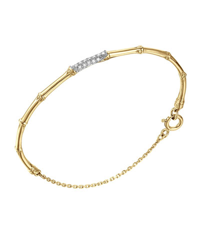 Bamboo 18k Slim Diamond Bracelet, Medium