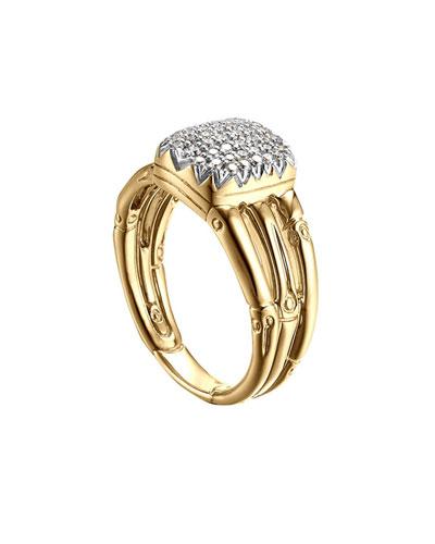 Bamboo 18k Diamond Three-Row Ring, Size 6