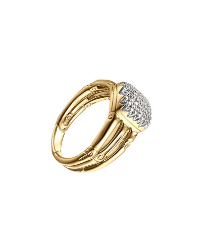 Bamboo 18k Diamond Three-Row Ring, Size 7