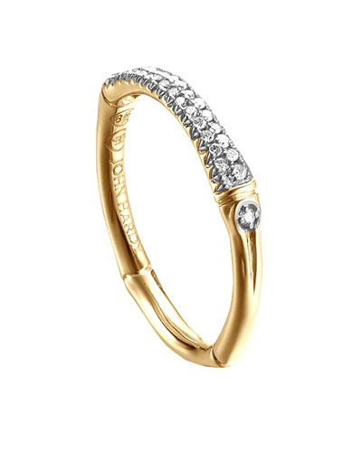 Bamboo 18k Diamond Band Ring, Size 8