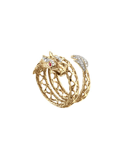 Legends Naga 18K Gold, African Ruby & Pavé Diamond Dragon Coil Ring