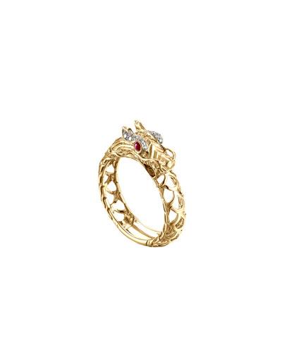 Naga 18k Gold Dragon Ring, Size 7