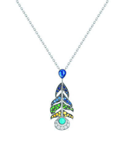 Peacock Multi-Stone Pendant Necklace