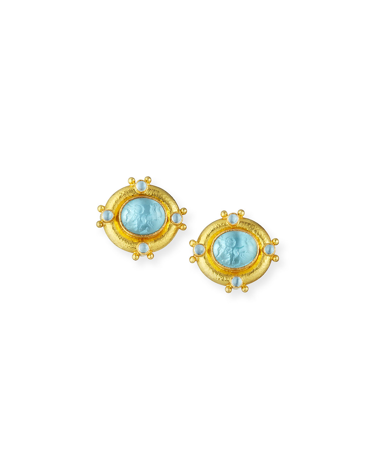 ELIZABETH LOCKE QUADRIGA INTAGLIO CLIP/POST EARRINGS, LIGHT AQUA