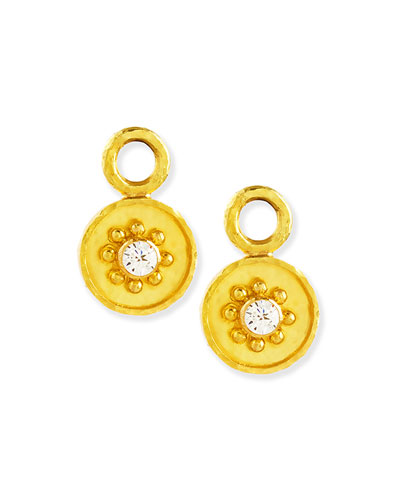 19k Gold Daisy Diamond Earring Pendants
