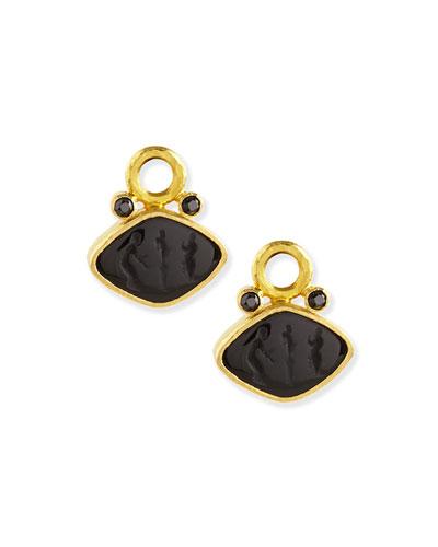 Rombo Intaglio Earring Pendants, Black