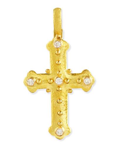 19k Byzantine Cross Pendant with Diamonds