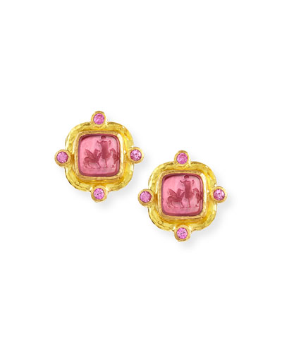 Quadratico Antico Intaglio Stud Earrings