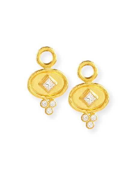 Elizabeth Locke 19k Gold Oval Diamond Earring Pendants