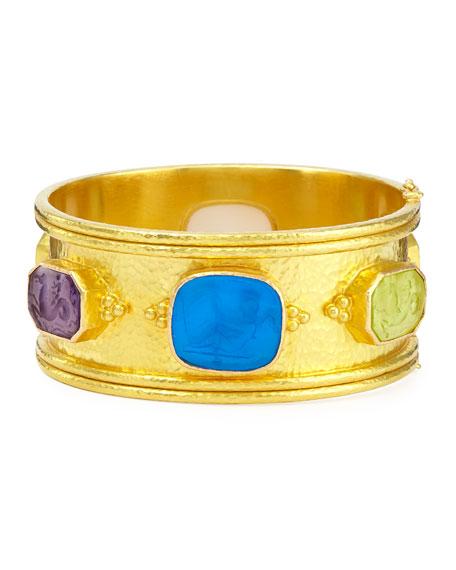Elizabeth Locke Pastel Cherub Intaglio 19k Gold Bangle