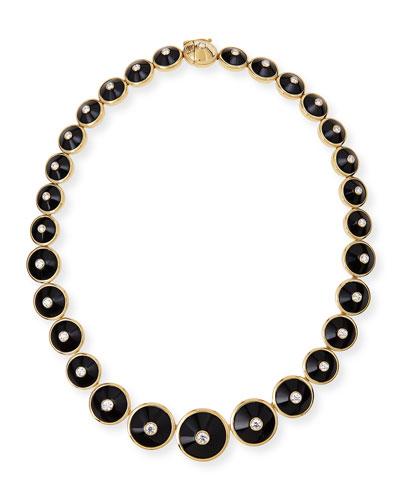 18k Pyramide Onyx & Diamond Necklace