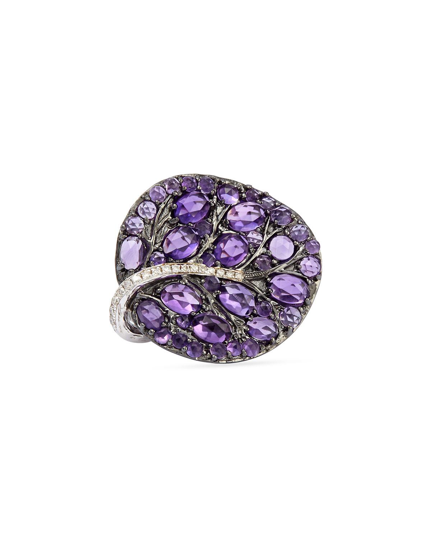 Botanical Leaf Amethyst Ring with Diamonds