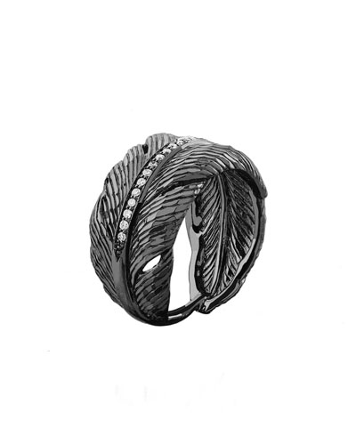 Silver Feather Ring with Diamonds