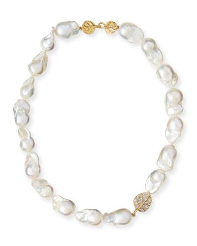 18k Diamond Botanical Leaf & Pearl Necklace, 16