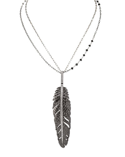 Rhodium-Plated Silver Feather Pendant Necklace with Diamonds, 30