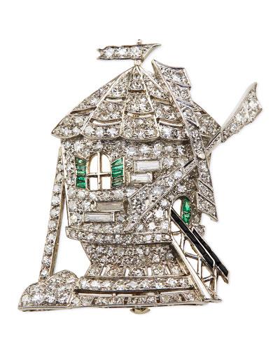 Estate Art Deco Diamond & Emerald Windmill Pin