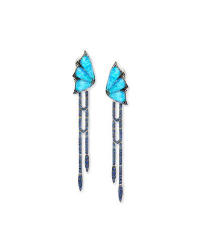 Fly By Night Opalescent Quartz Dagger Drop Earrings
