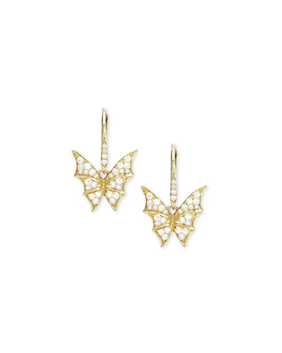 Fly By Night Mini Diamond Bat-Moth Earrings