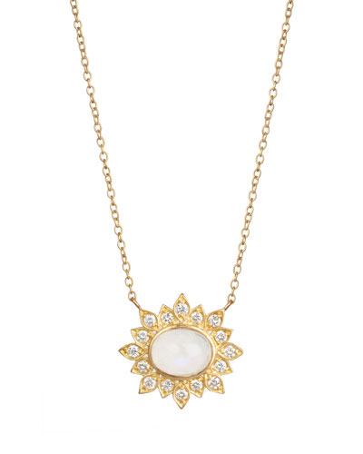 Oval Moonstone Diamond Pendant Necklace