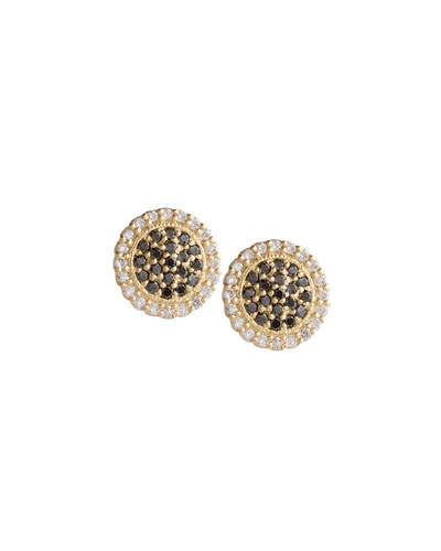 Scalloped Black & White Diamond Stud Earrings