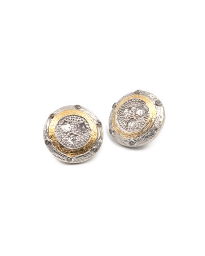 Opera Crystal & Diamond Round Stud Earrings