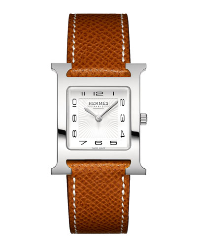 Heure H Watch on a Gold Grained Calf Strap