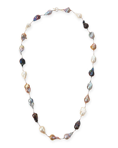 Multicolor Baroque Pearl Long Necklace, 35