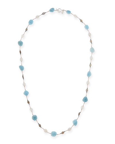 Aquamarine, Moonstone & Labradorite Long Necklace, 35