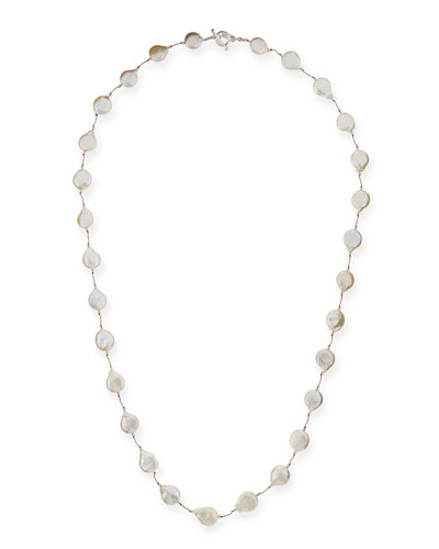 Single-Strand Coin Pearl & Crystal Necklace, 35