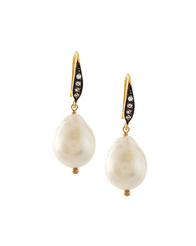 Baroque Pearl & White Sapphire Drop Earrings