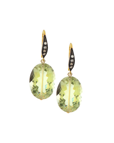 Green Amethyst & White Sapphire Drop Earrings