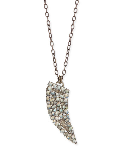Labradorite Diamond Horn Necklace, 35