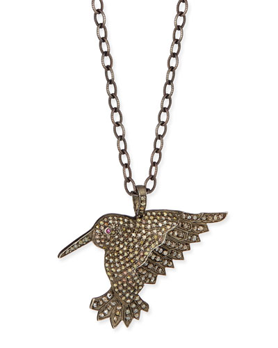 Diamond Hummingbird Pendant Necklace