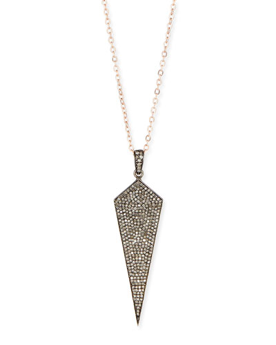Wide Diamond Dagger Necklace with Rose Gold Chain, 18