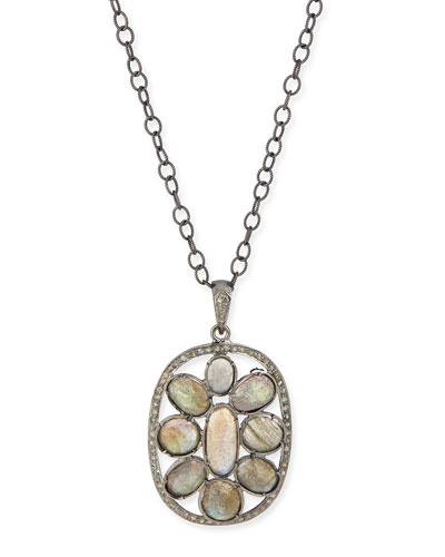 Silver Labradorite & Diamond Mandala Pendant Necklace