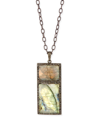 Double Rectangle Labradorite Necklace with Diamonds, 35